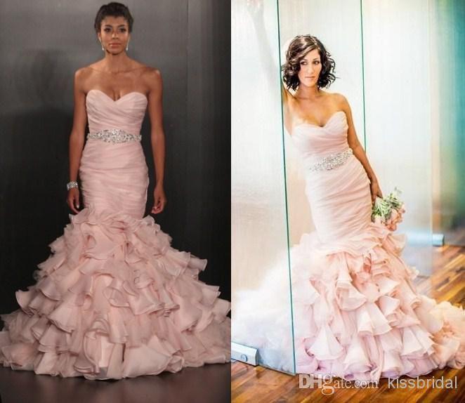 Pink Ruffled Wedding Dress Train