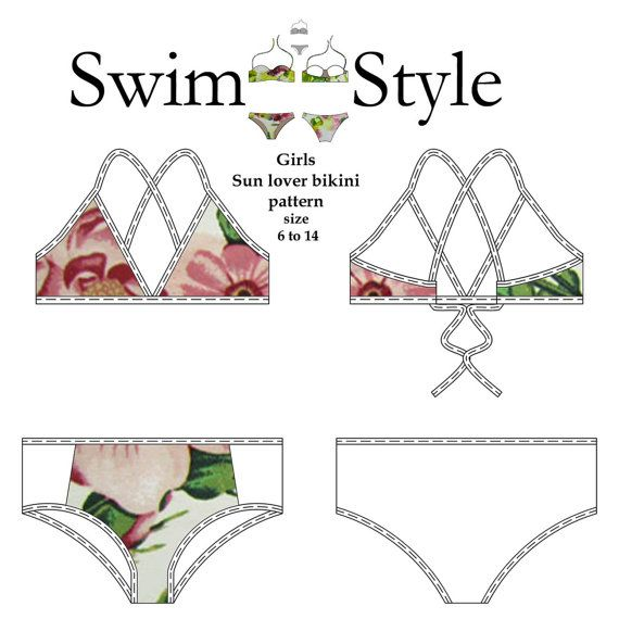 Girls Sun lover bikini pdf sewing pattern | Pinterest