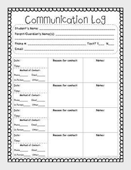 Parent Communication Log Parent Teacher Communication