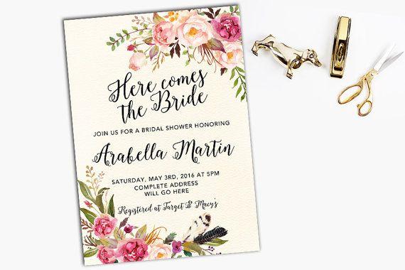 Floral Bridal Shower Invitation Printable Wedding Invitation Bohemian Rustic Bridal Shower Invitation