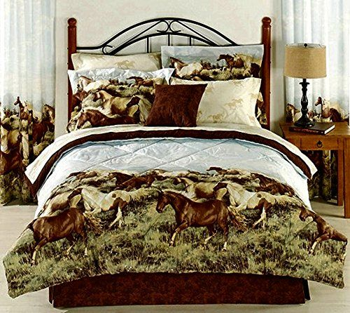 8pc King Size Western Horses Comforter And Sheet Set Bed In A Bag * Be Sure