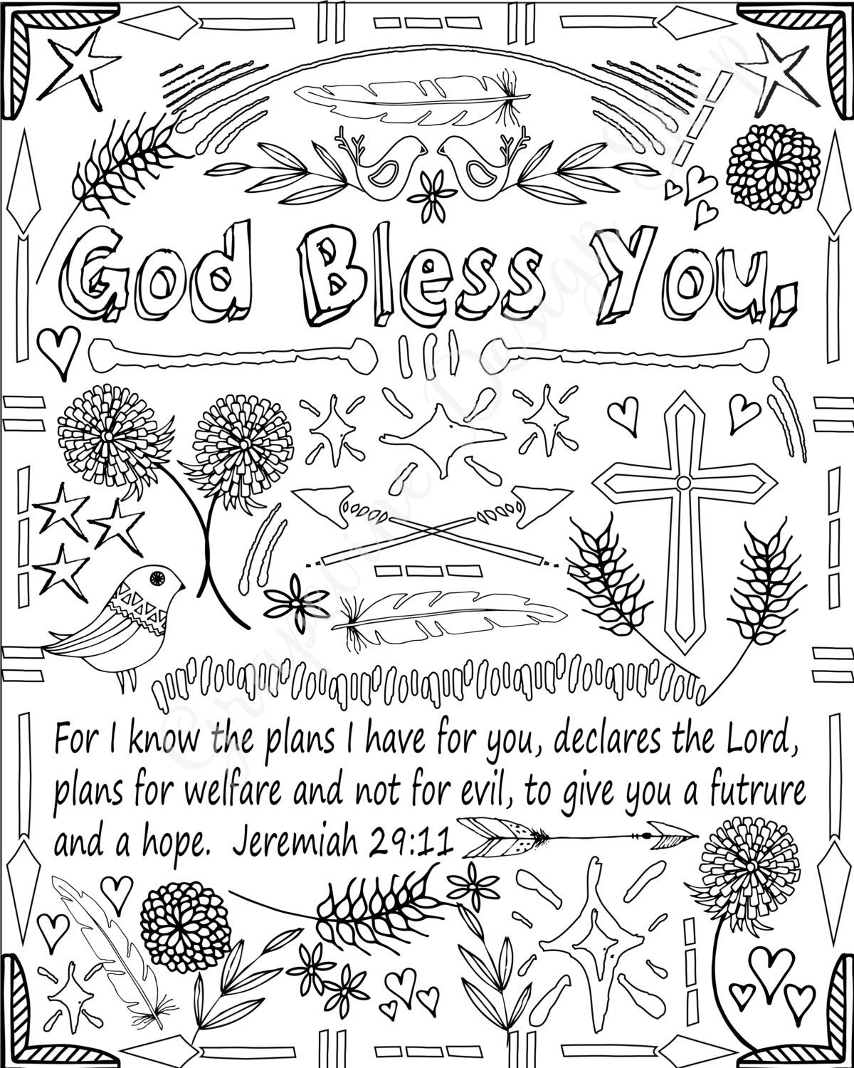 Encouraging words and Bible verse coloring pages. Set of 5