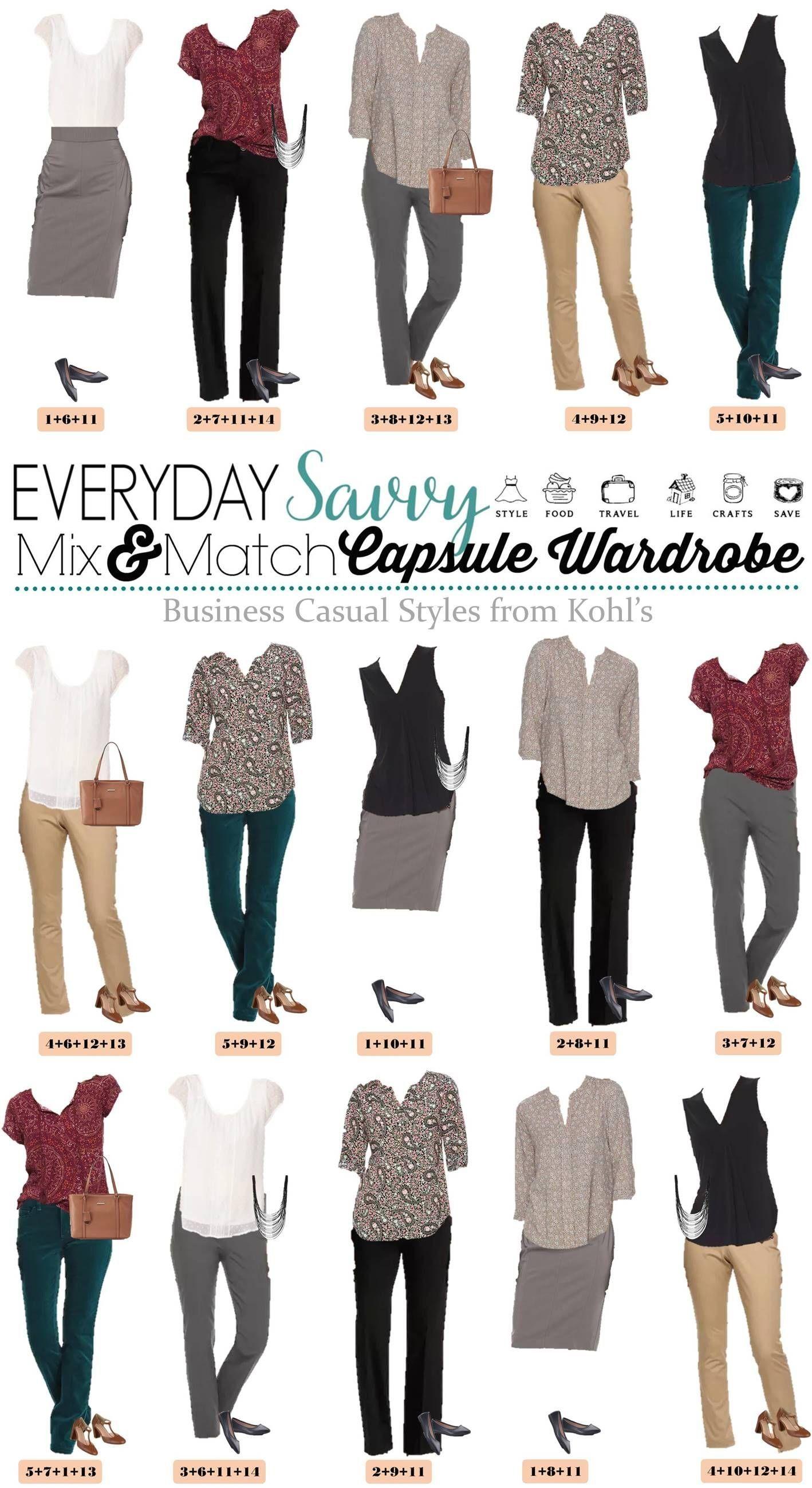 Kohls Business Casual Attire for Women - Capsule Wardrobe | 1000