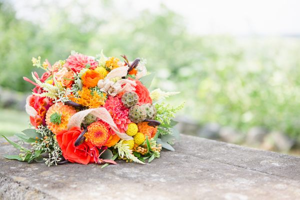 southern wedding - red and orange bouquet