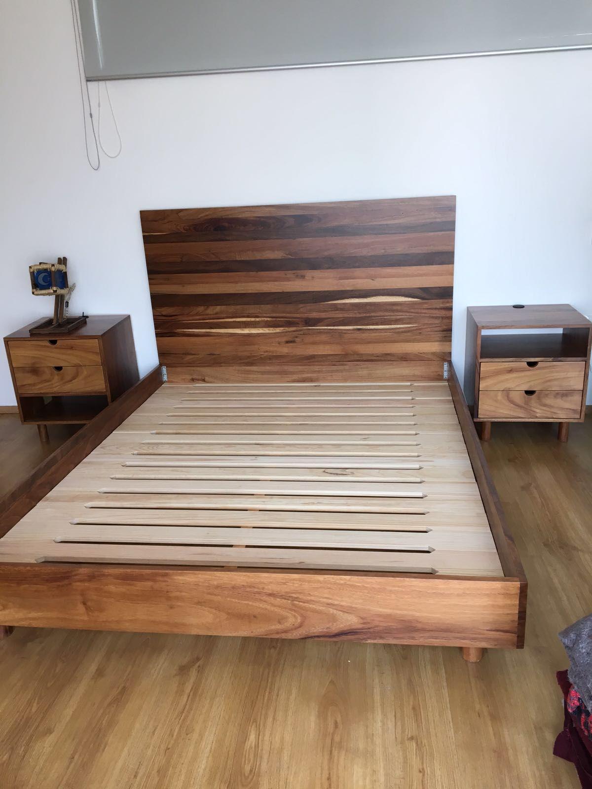 Base de cama y cabecera de madera de huanacastle bases for Cama king size de madera