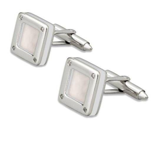 Gemelos NICOL´S. Gemelos en forma cuadrada con piedra central con remate con engaste en chatón. Fabricados en oro blanco 18kt, nácar y diamante 0.09qt.