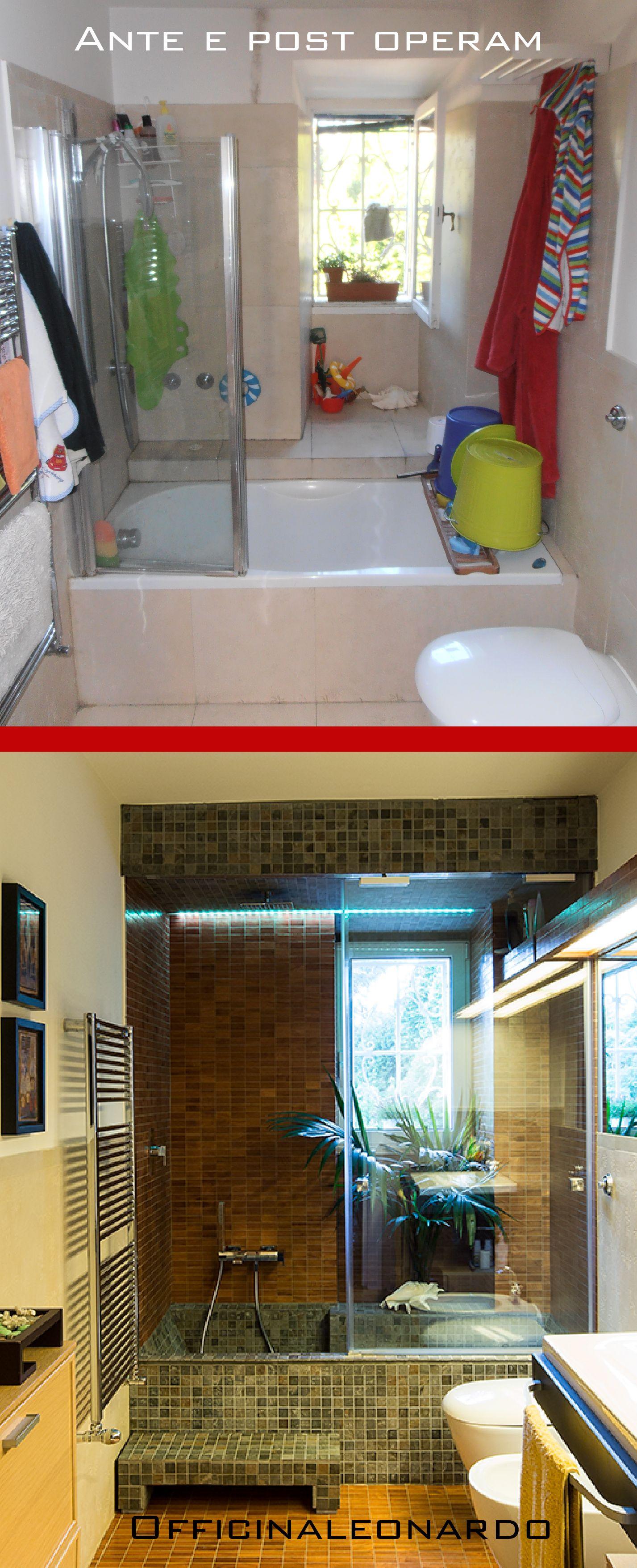 Ristrutturazione di un bagno con vasca e doccia i mosaici in ceramica ed in legno e la luce led - Lavori di ristrutturazione casa ...