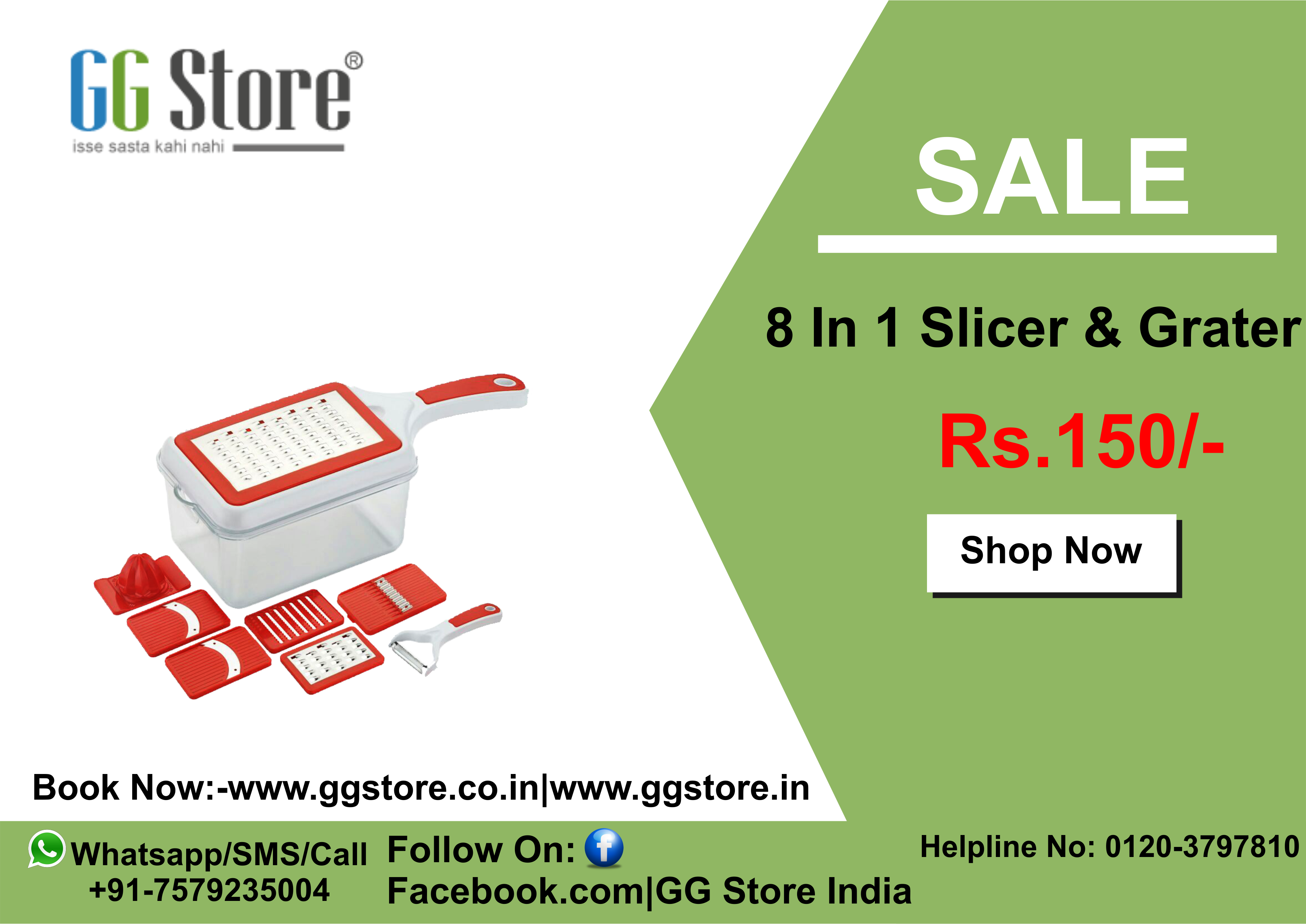 8 In 1 Slicer & Grater Rs.150/ Shop on GG Store Offline