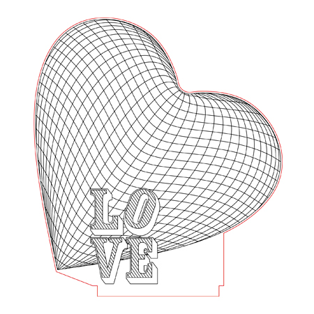 Big Heart Love 3d Illusion Lamp Plan Vector File For Laser And Cnc 3bee Studio 3d Illusion Lamp 3d Illusions Illusions