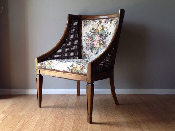 Elegant Vintage Occasional Chair With Cane Sides U0026 Floral Tapestry Upholstery.  Retro Furniture. | ReRunRoom