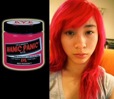 Manic Panic Cream Dye Red Passion Glows Under Black Light Hair Color Orange Bright Hair Colors Dyed Hair