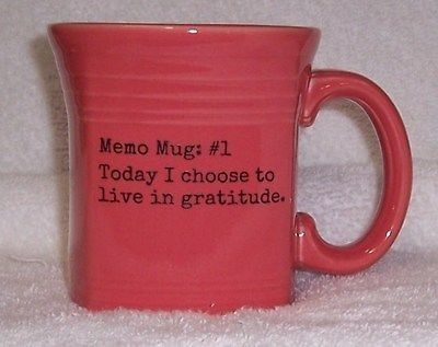 Fiesta® Dinnerware Flamingo Square Mug inscribed with the message  Memo Mug #1 ~ Today I choose to live in gratitude.  | WorthPoint & Fiesta® Dinnerware Flamingo Square Mug inscribed with the message ...