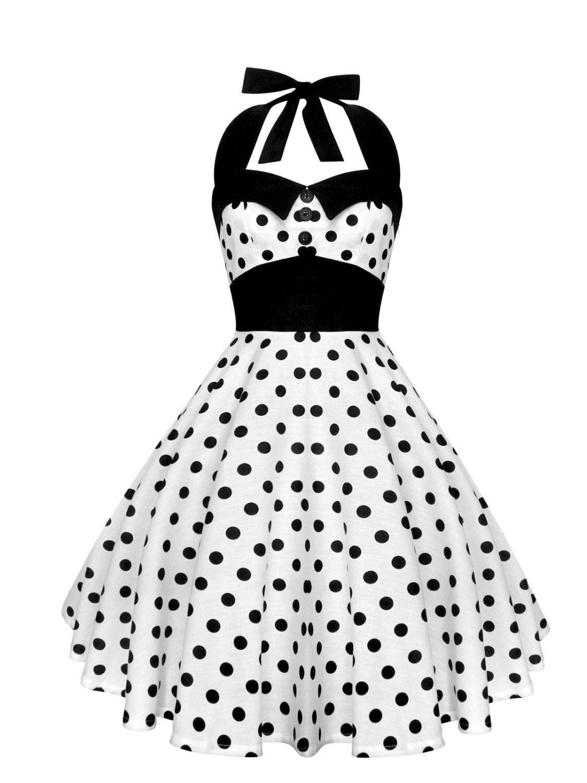 86008923e6b7e White Polka Dot Dress Black Polka Dot Vintage Dress Pin Up Dress ...