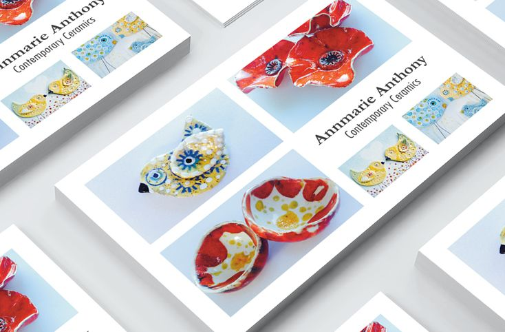 Creative and professional business card design akgraphics designed the business card design focuses on her beautifully detailed ceramic works by incorporating product photography it is immediately colourmoves