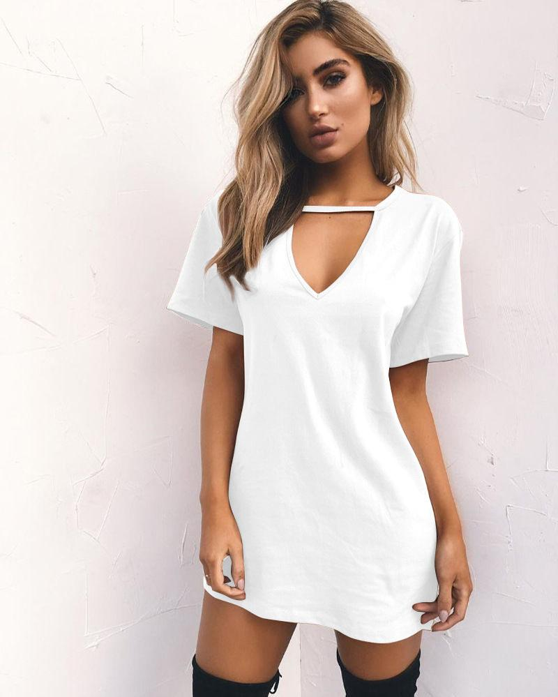 Casual choker v neck short sleeve sexy mini t shirt dress choker