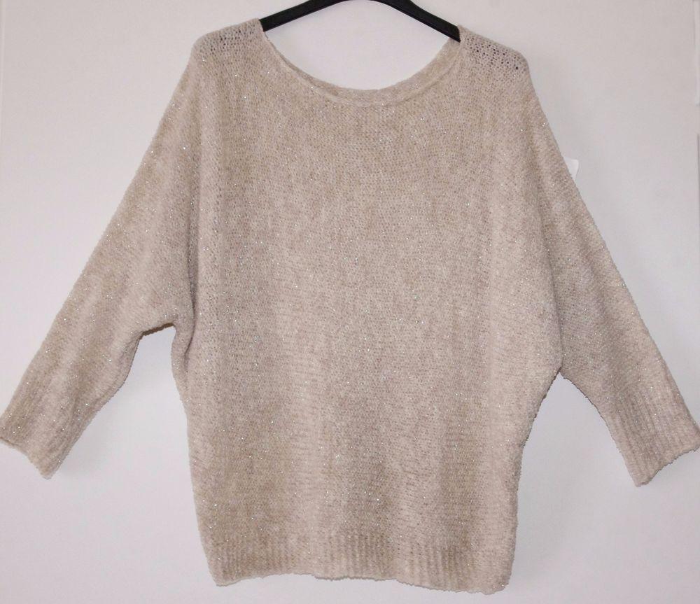 9d9cb861d757 maglia donna pullover maglione lurex manica a pipistrello 3 4 tg.unica 42 46