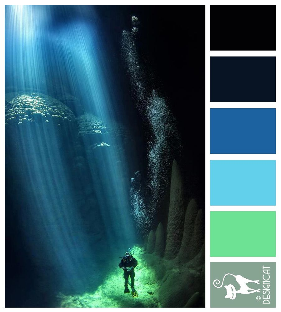 Beautiful Places Underwater: Abyss : Blue, Green, Aqua, Steel