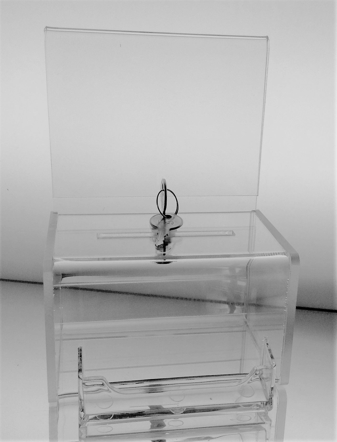 clear acrylic mini donation box with attached business card holder