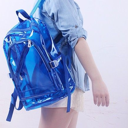 New preppy style jelly color transparent crystal beach bag men and women swimming bag waterproof