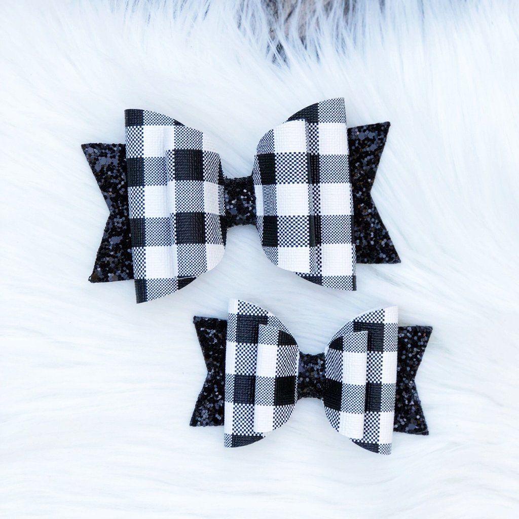 Handmade School blue gingham /& grey glitter bow hair Alice band