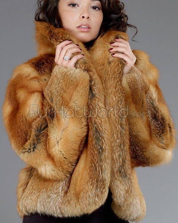 womens red fur coats | Red Fox Fur Mid Length Bolero Coat - Furs ...