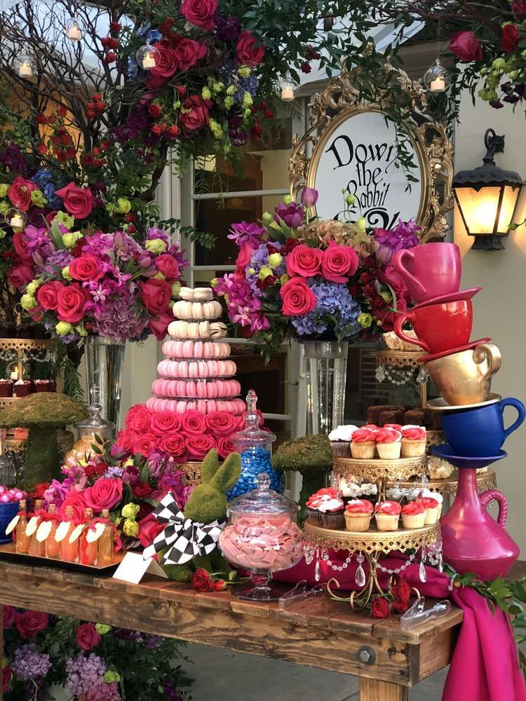 Wow Fall Under The Spell Of This Amazing Alice In Wonderland Par Alice In Wonderland Tea Party Birthday Wonderland Party Decorations Alice In Wonderland Party
