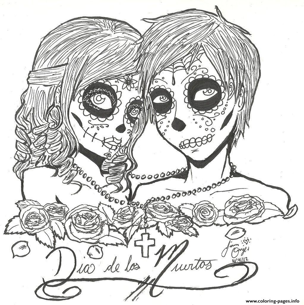 Print skull sugar couples love coloring pages Sugar Skulls