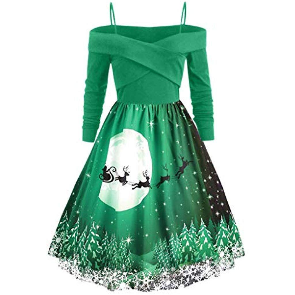 Weihnachtskleidtranswen Damen Vintage O Neck Printed Kurzarm A Linie Swing Kleid Weihnachtsdeko Cocktailkleid Weihna Swing Kleid Festliches Kleid Party Kleider