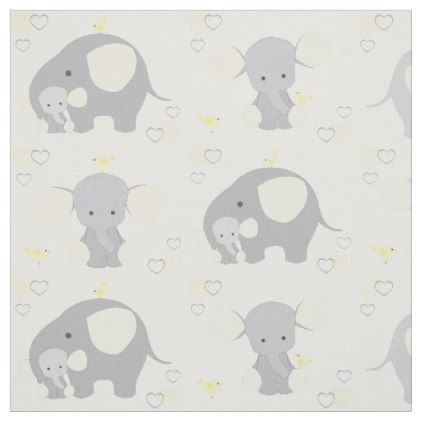 Elephant yellow safari animal nursery baby neutral fabric negle