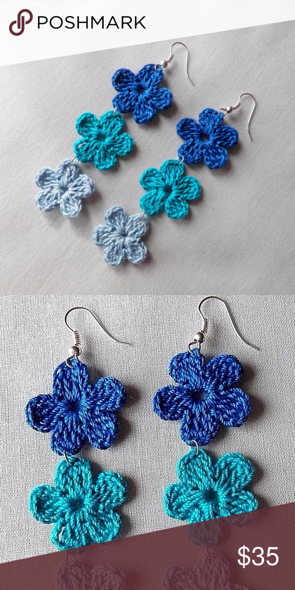 New Blue Ombre Boho Handmade Flower Earrings Original and handmade in the USA by...