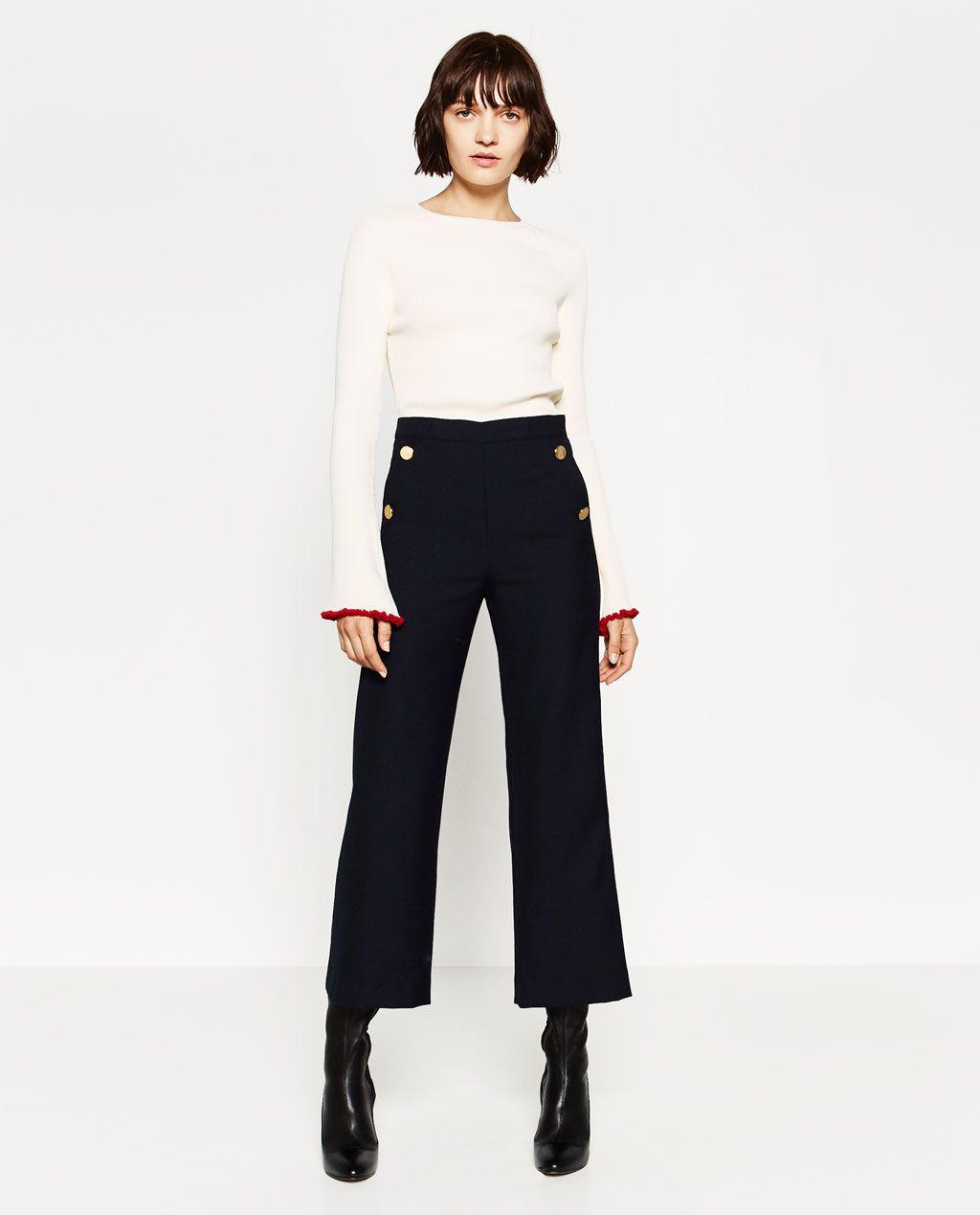 Zara Woman Gold Button Trousers Rebajas Mujer Ropa Moda