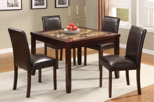 Acme 16660 5 Piece Ignatius Faux Marble Top Dining Set Brown By Acme 469 40 Made In Chin Cheap Dining Room Sets Dining Room Design Dining Room Table Marble