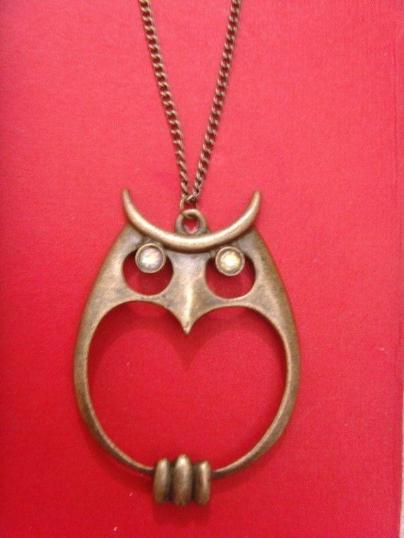 stunning bronze crytsal owl pendant 18 by amazingcollection4u, $6.99