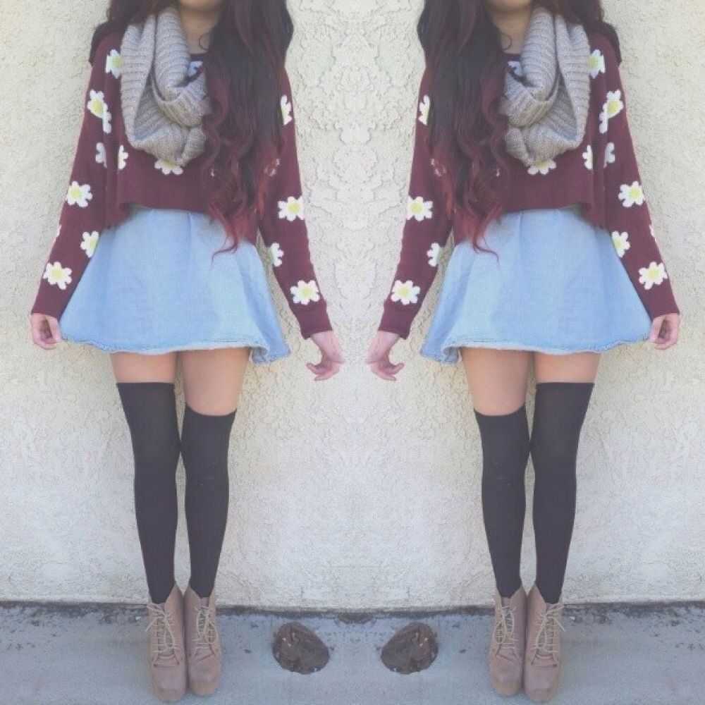 Cropped daisy sweater with infinity scarf denim circle skirt and ...