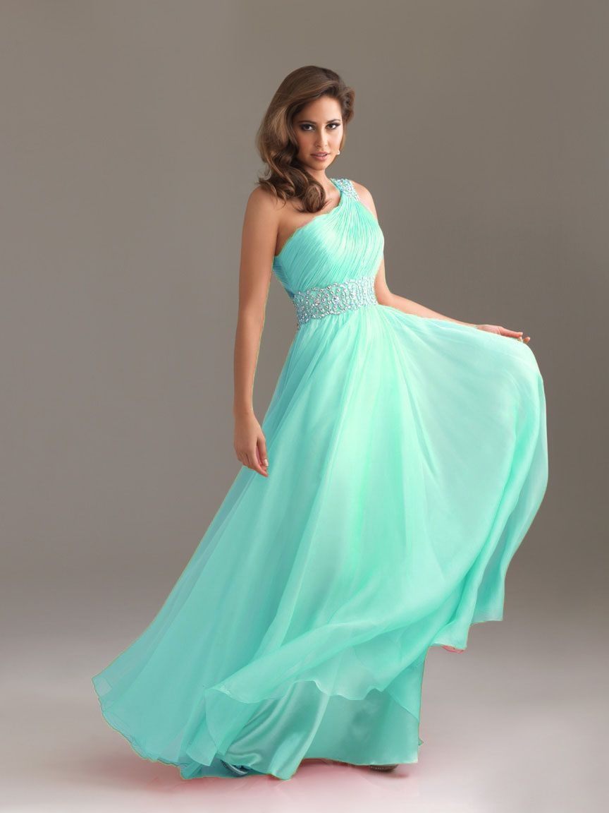 Elegant Prom Dresses, 2012 Elegant Empire One Shoulder Neck Floor-length  Blue Prom Dresses