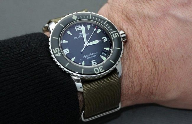 Blancpain Fifty Fathoms Automatic nato strap menswear green army
