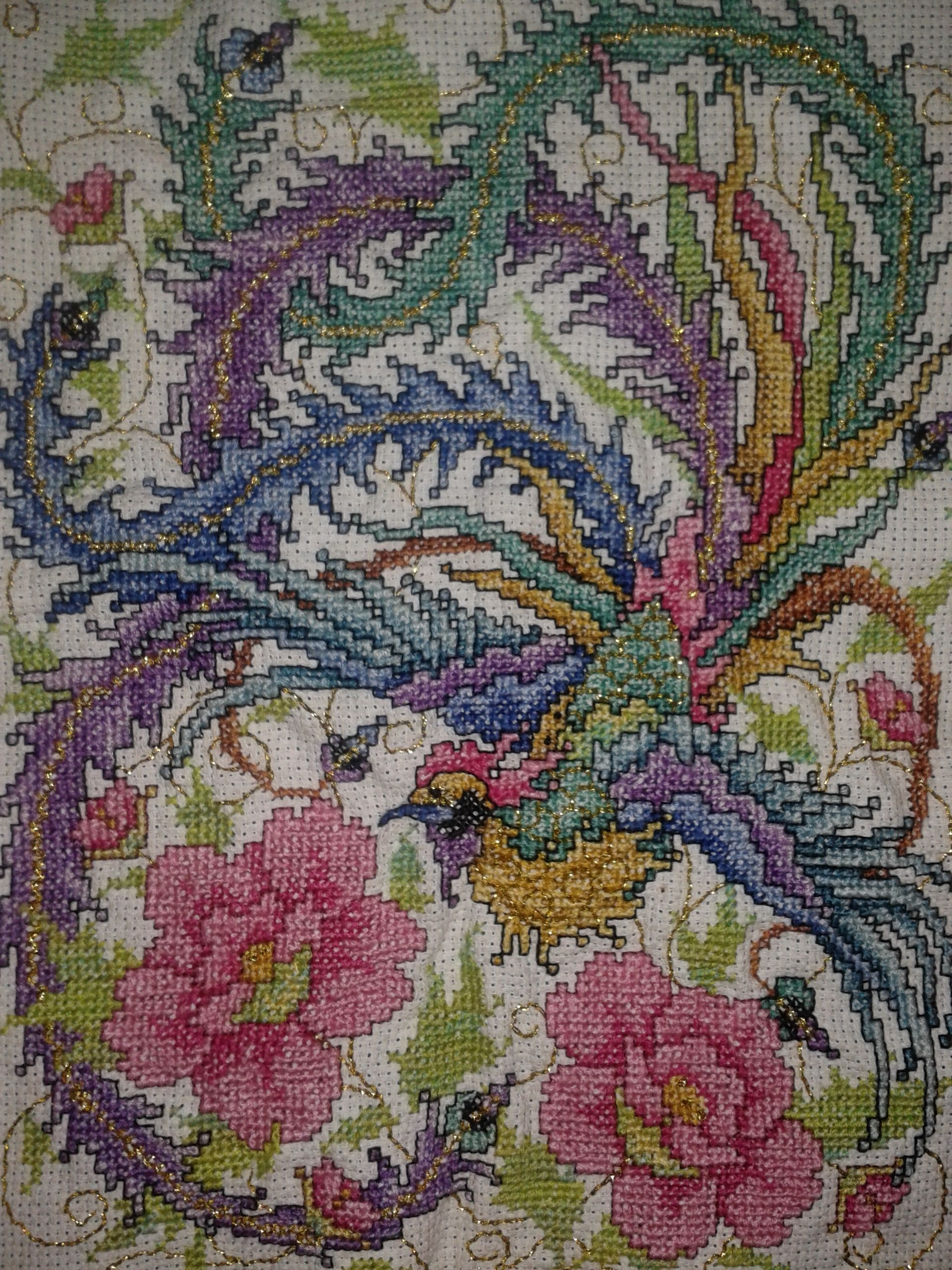 My Chinese Phoenix cross stitch! Took a while but I love showing it ...