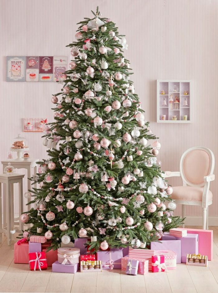 Rbol de navidad decorado en color rosa suave con - Arboles de navidad rosa ...