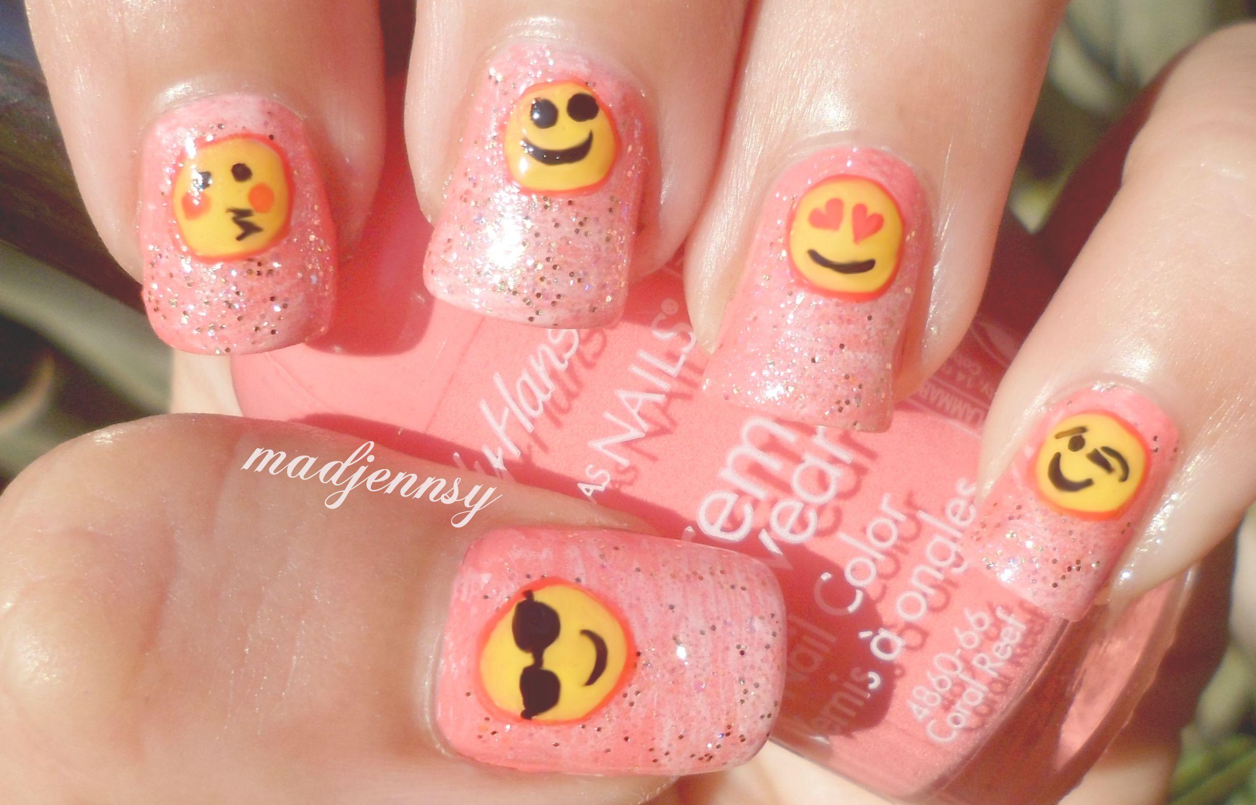 Pink Glittery Emoji Nail Art Watch HD Nail #Tutorial! http://youtu ...