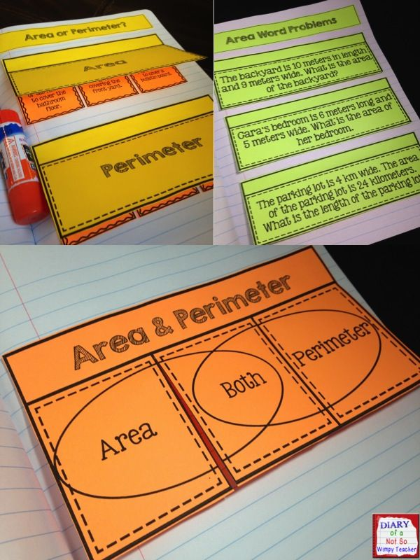 Area and Perimeter Interactive Notebook | Activities, Math and School