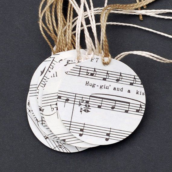 Cute music gift tags  at https://www.etsy.com/listing/36335130/vintage-gift-tags-15-recycled-sheet