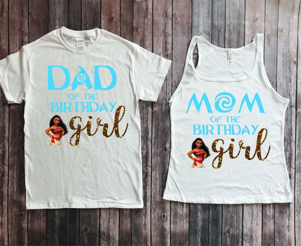 Mom and Dad of birthday girl- Moana verison, Moana birthday shirt, parents of birthday girl, Moana theme party, Moana birthday party