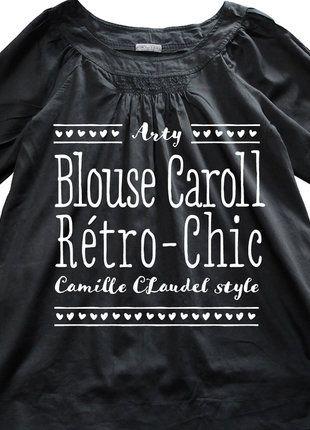 2ff085107fa À vendre sur  vintedfrance ! http   www.vinted .fr mode-femmes tuniques 29116181-blouse-noire-a-manches-bouffantes-caroll