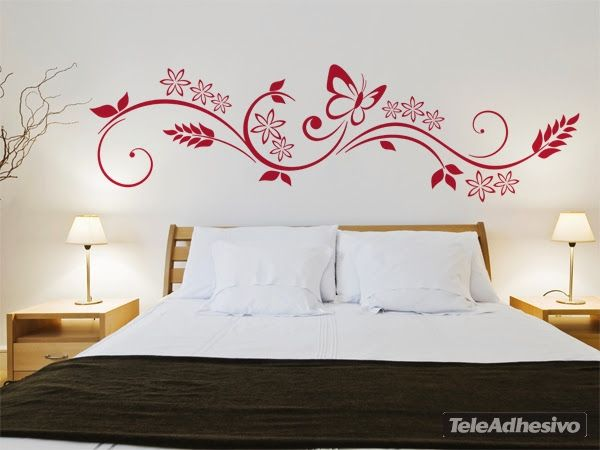 Vinilos para recamara ideas para decorar con vinilos y plantillas pinterest mariposas - Decoracion paredes vinilos adhesivos ...