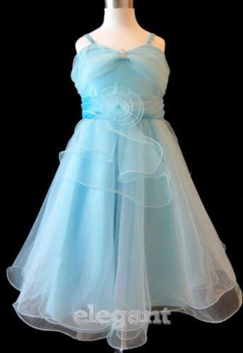 Blue V Children Kids Wedding Flower S Dress Pageant Gown 7 9 Years Size 8