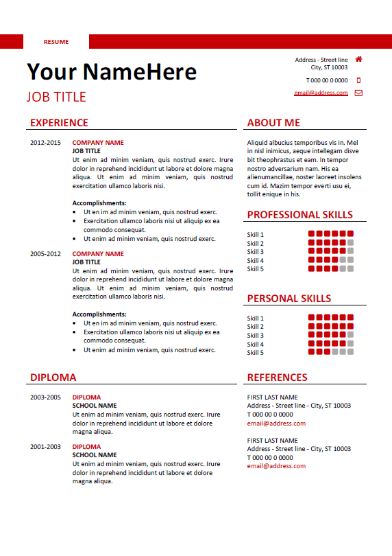 Free Clean And Simple Resume Template For Word Docx  Red