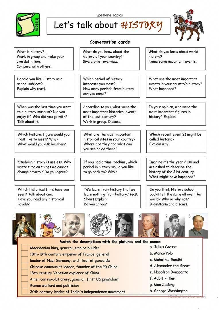 Why Study History Worksheet Let S Talk About History Worksheet Free Esl Printable Learn English History Worksheets Let Them Talk