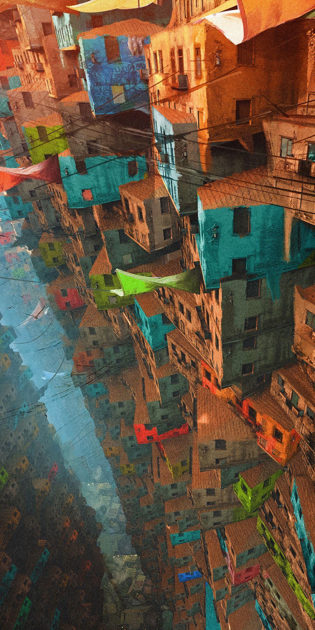 Cityscape, buildings, apartments, colorful, art, 1080x2160 wallpaper