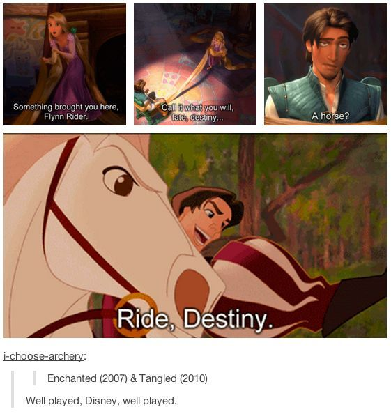 Smile for the day :) Disney's Tangled and Enchanted meet...Flynn Rider would say it's destiny ;)