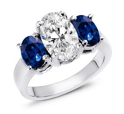2.00 Carat Sapphire & 2.00 Carat Diamond Ring Sapphire and Diamond Ring. This ring consists of a stunning 2.0ct oval cut center diamond in SI Clarity and G-H Color. Surrounded by 2 natural blue sapphires totaling 2.0ct in a prong setting. Handcrafted in 14k Gold, 18k Gold, or Platinum 950 setting. Price $7699.99 (USD) at  WorldJewels